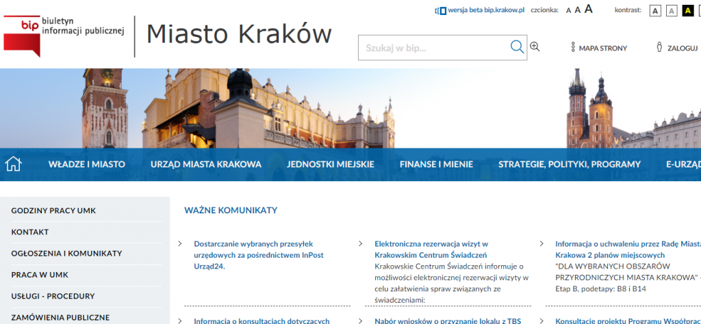 Widok strony internetowej ze znakiem BIP z lewej, następnie napisem Miasto Kraków