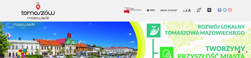 Widok strony internetowej miasta Tomaszowa Mazowieckiego z widocznym na górze znaczkiem BIP