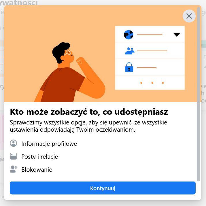 Zdjęcie ustawień Facebooka - pod hasłem Kto może zobaczyć to, co udostępniasz, wymienione; informacje profilowe, posty i relacje, blokowanie