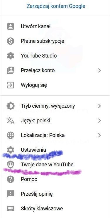 Zdjęcie ustawień zarządzania konta Google - lista. podkreślono: ustawienia oraz Twoje dane w YouTube