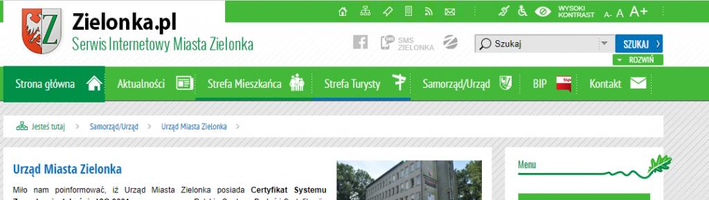 Widok strony internetowej miasta Zielonka z widocznym znaczkiem BIP