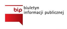 Znaczek biuletynu informacji publicznej - polska flaga, na białej części litery bip, czerwona bez napisów