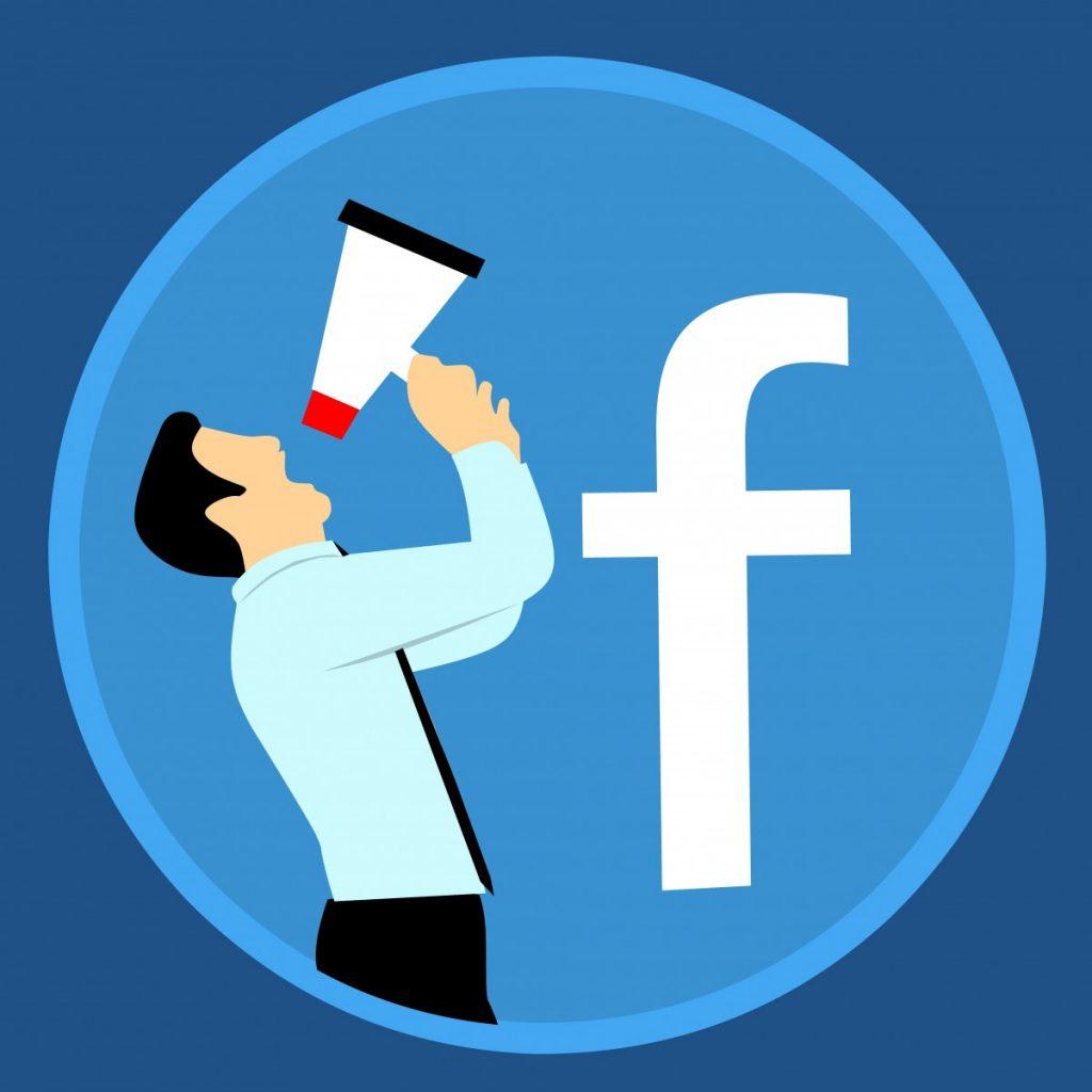Logo Facebooka, biała litera f na niebieskim tle.