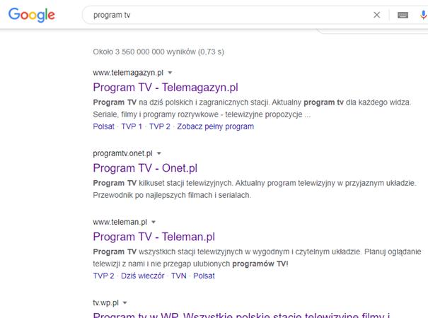 Zdjęcie listy adresów z nazwą Program TV z wyszukiwarki Google