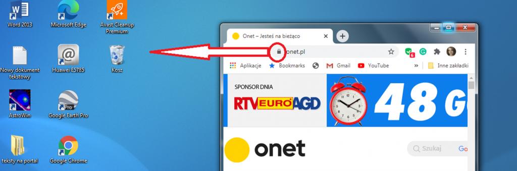 Widok pulpitu komputera oraz przeglądarki ustawionej na stronie onet.pl z zaznaczonym symbolem kłódki