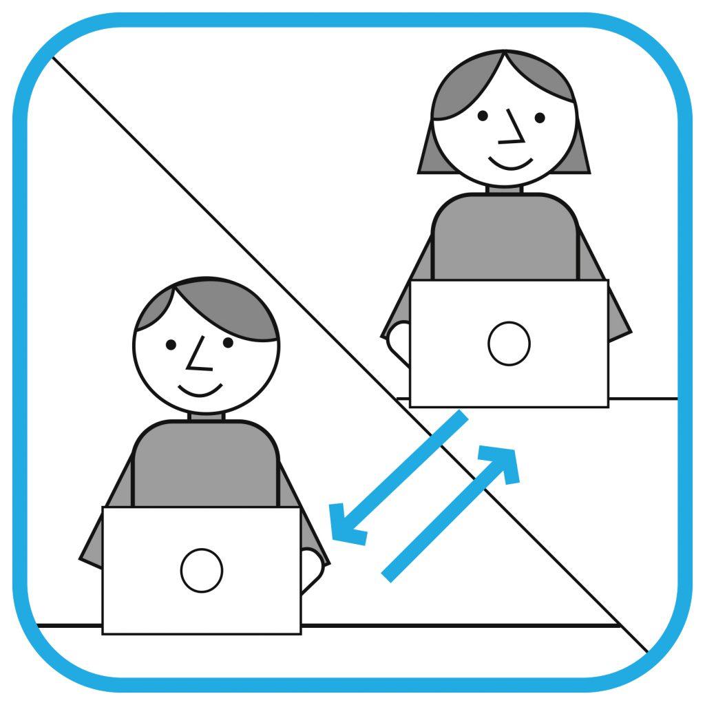 Ilustracja podzielona na dwie części. W lewym dolnym rogu mężczyzna przed komputerem. W prawym górnym rogu kobieta przed komputerem. Między nimi dwie strzałki