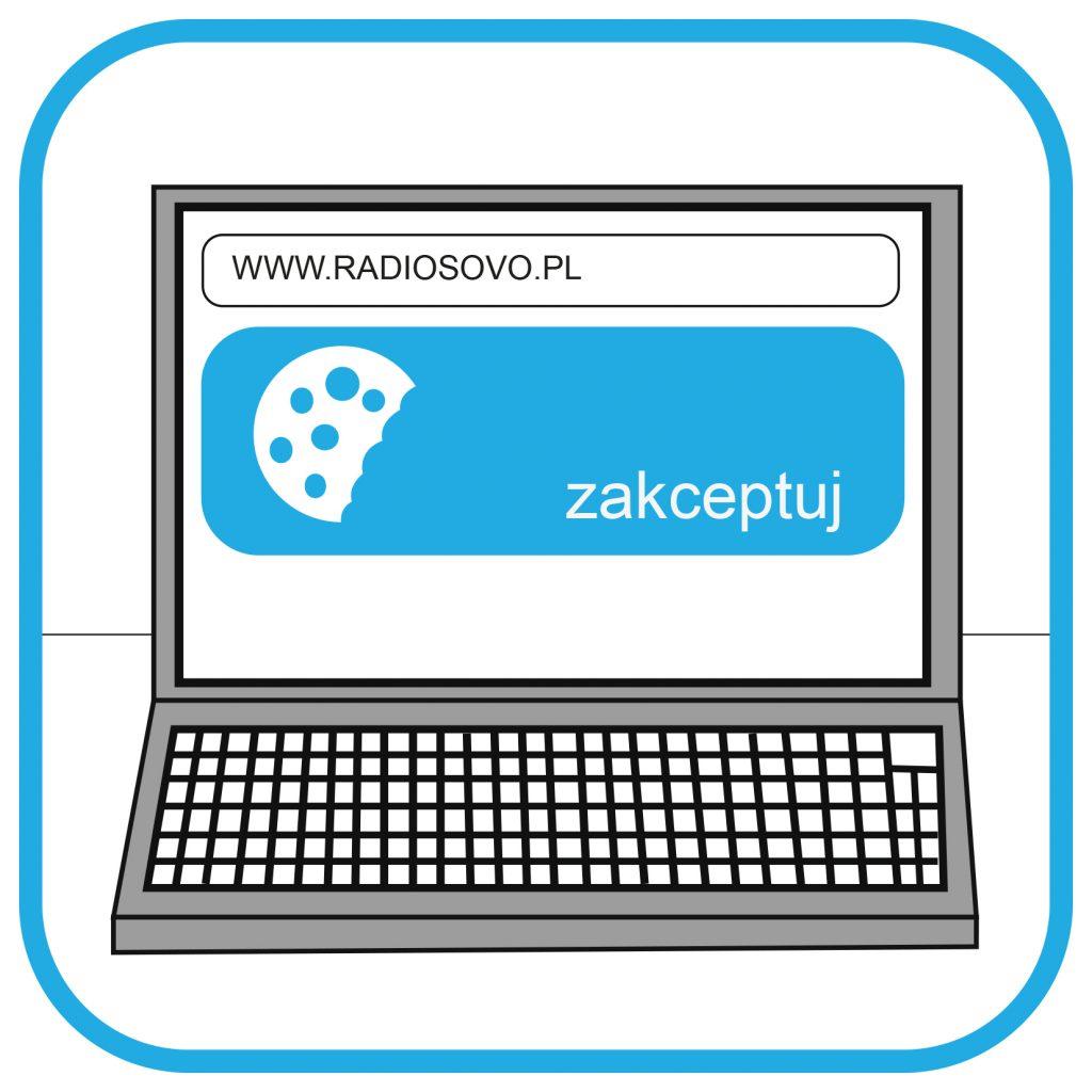 Ekran laptopa. Na ekranie widać adres strony internetowej www.radiosovo.pl. Poniżej pojawia się ikona ciasteczek i napis zaakceptuj.