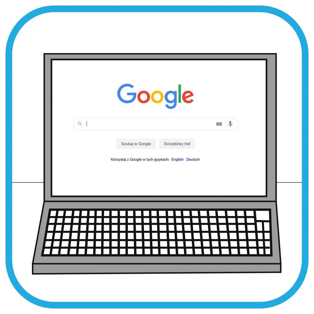 Ekran laptopa z wyszukiwarką Google.