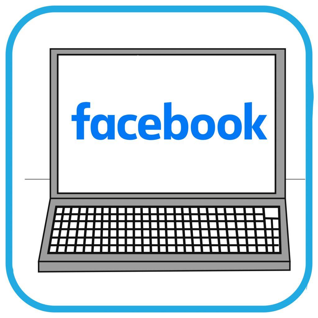 Na ekranie laptopa widać napis Facebook.