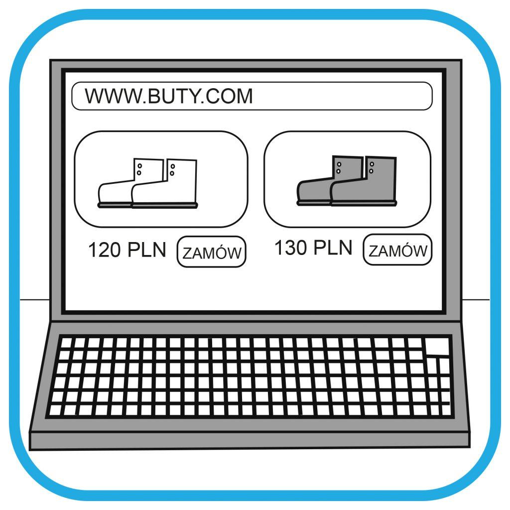 Ekran laptopa. Na ekranie widać sklep internetowy z butami. Widać ich cenę i przycisk zamów.