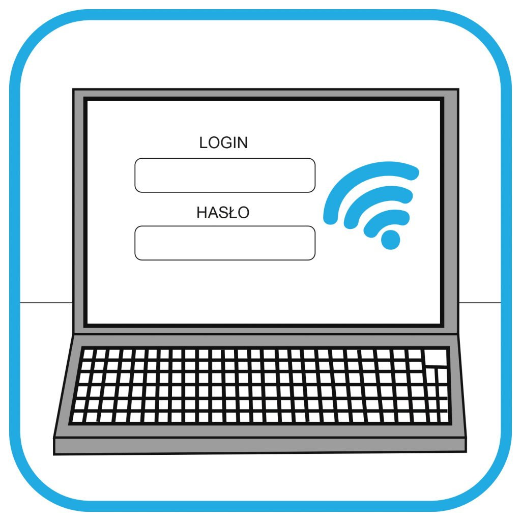 Ekran laptopa z miejscem na wpisanie loginu, hasła. Obok na ekranie symbol WiFi.