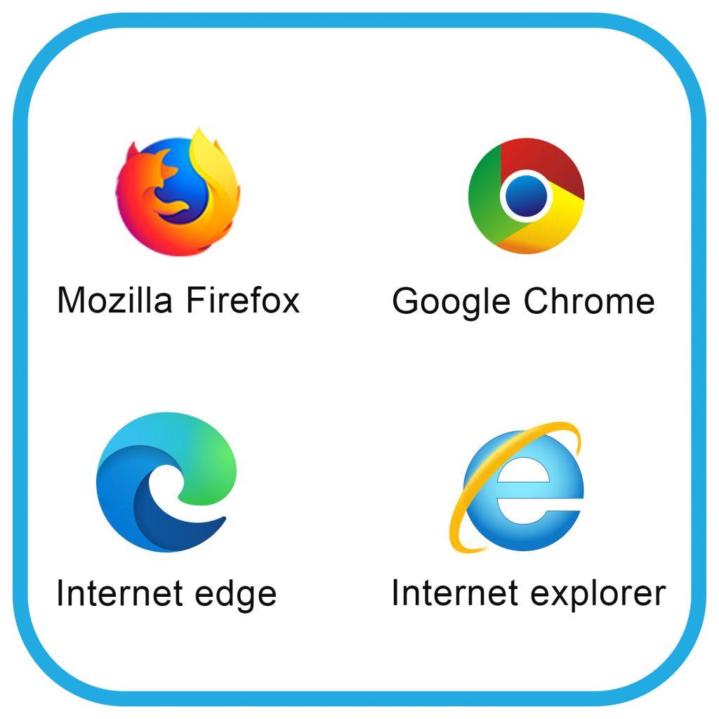 W górnym pasku od lewej strony  symbole: przeglądarki Mozilla Firefox, Google Chrom. Poniżej Od lewej: Internet edge, internet explorer.