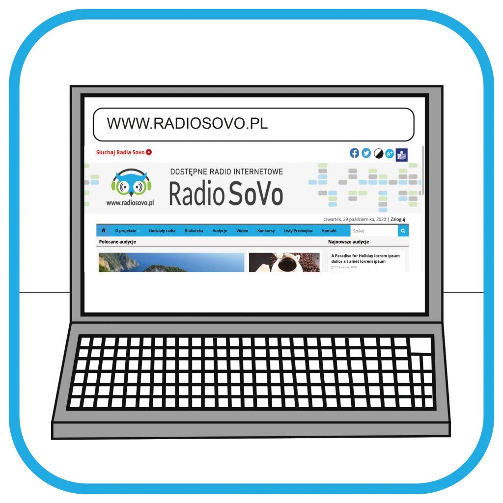 Na ekranie laptopa widać adres strony internetowej www.radiosovo.pl oraz zawartość strony (w tym nazwę i logo).