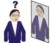 Osoba stoi przed lustrem w którym widzi swoje odbicie. Zastanawia się kim jest ta osoba?