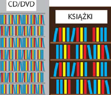 Dwa duże regały. Na jednym znajdują się płyty na drugim książki.