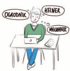 Osoba siedzi przy biurku i szuka pracy przez Internet. Zastanawia się jaki zawód ją interesuje.