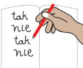 """Zeszyt, w nim zapisane na zmianę słowa """"tak:"""" i """"nie"""""""
