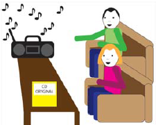 Dwie osoby słuchają oryginalnego wydania muzycznego.