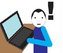 Wykrzyknik obok osoby siedzącej przed komputerem.