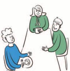 Trzy osoby siedzą przy stole jedzą lub piją i rozmawiają.