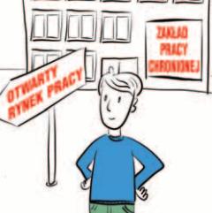 Osoba stoi przed znakiem wskazującym wolny rynek pracy. Za nią znajduje się budynek zakładu pracy chronionej.