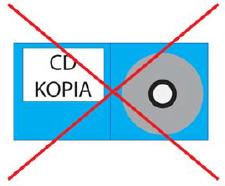 Przekreślona płyta CD.