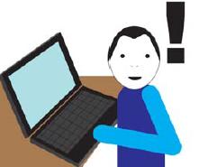 Osoba przed laptopem. obok czarny wykrzyknik