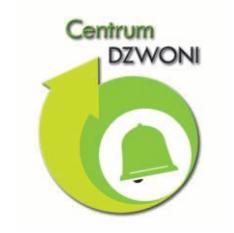 Logo Centrum DZWONI. Zielony okrąg otoczony strzałką, w środku okręgu zielony dzwonek.
