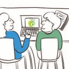 Dwie osoby siedzą przy komputerze. Na ekranie monitora widać logo Centrum DZWONI.