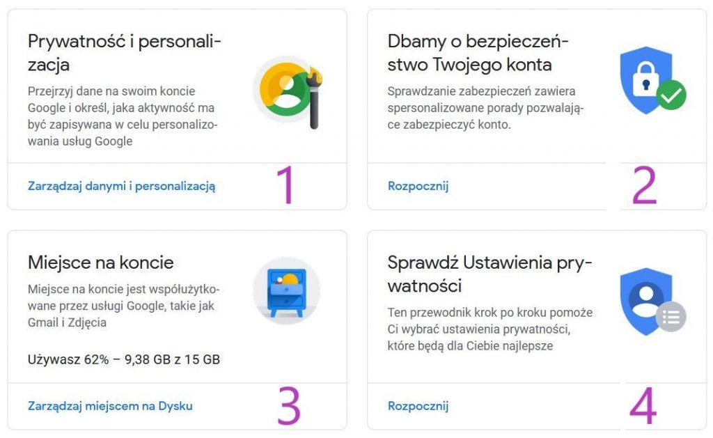 4 ikony z ustawienia konta Google: Prywatność i personalizacja, dbamy o bezpieczeństwo Twojego konta, Miejsce na koncie, Sprawdź ustawienia prywatności.