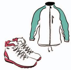 Buty sportowe za kostkę i kurtka sportowa.