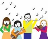 Zespół muzyczny gra. Na scenie widać gitarzystę, flecistę, skrzypaczkę oraz piosenkarkę.