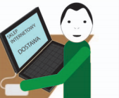 Osoba na komputerze wybiera sposób dostawy w sklepie internetowym.