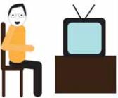 Osoba siedzi przed telewizorem.