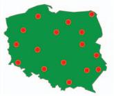 Mapa polski z zaznaczonymi biurami rzecznika praw konsumenta.