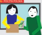 Osoba odbiera swoją przesyłkę na poczcie i płaci za nią.