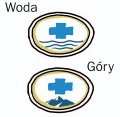 Dwie plakietki z logo  WOPR i TOPR.