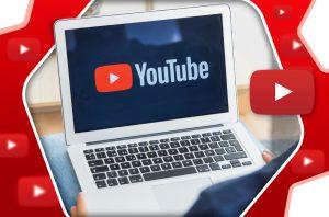 laptop z napisem YouTube na ekranie