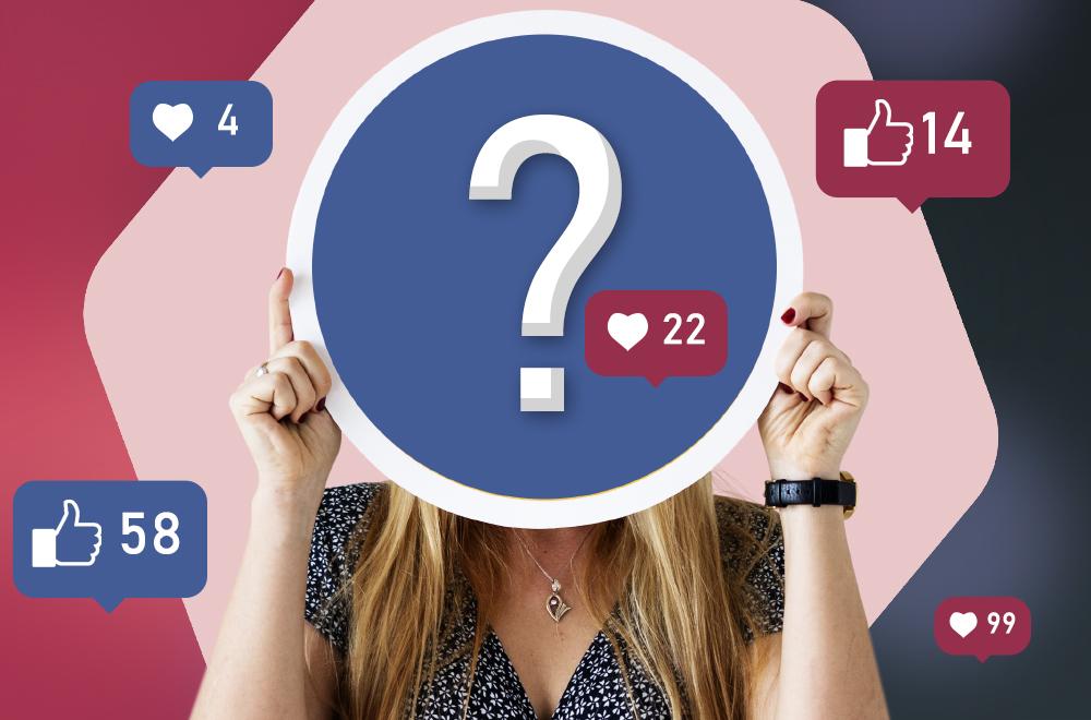 Osoba zasłaniająca twarz tablicą ze znakiem zapytania. Wokół chmurki z facebooka z liczbami polubień : 14, 99, 58.