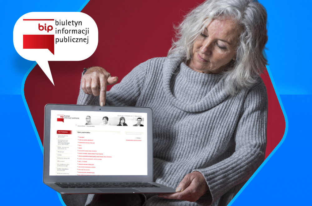 Znak BIP z lewej strony obrazka. W tle osoba trzymająca otwarty laptop