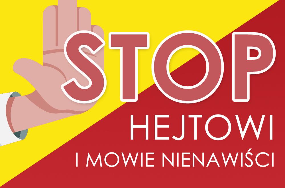 Napis STOP hejtowi i mowie nienawiści oraz wyciągnięta dłoń