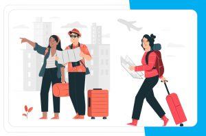 ludzie z walizkami i mapą