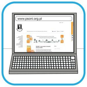 Na monitorze laptopa widać stronę internetową PSONI.
