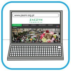 Na monitorze laptopa widać stronę internetową Fundacji Zaczyn.