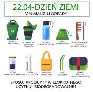 22 kwietnia dzień ziemi. Używaj produktów wielorazowych.