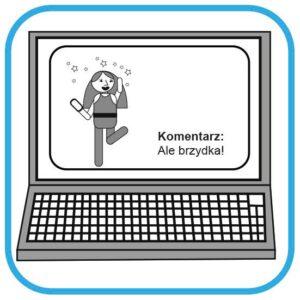 Na ekranie komputera widać tańcząca znaną osobę. Jest uśmiechnięta. Nad jej  głową są gwiazdki. Obok napis: Komentarz: Ale brzydka!