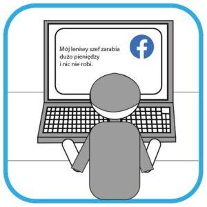 Osoba pisze zły komentarz na FB o swoich pracodawcy. Na ekranie widać napis: Mój leniwy szef zarabia dużo pieniędzy i nic nie robi. Osoba siedzi tyłem do czytelnika.