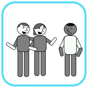 Od lewej: 2 osoby wytykają palcami i wyśmiewają się z czarnoskórego smutnego  mężczyzny.