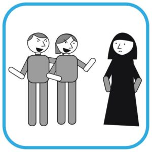 Od lewej: 2 osoby wytykają palcami i wyśmiewają się z muzułmanki ubranej w  czadorze.