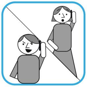 Ilustracja podzielona na dwie części. W lewym dolnym rogu mężczyzna trzyma  telefon przy uchu. Ma złośliwą miną. W prawym górnym rogu przestraszona kobieta odbiera połączenie. Widać, że się boi.
